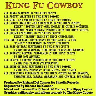 Inside cover of Kung Fu Cowboy PART 1